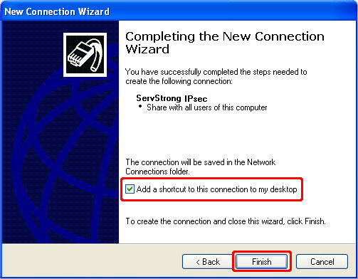 How to Setup a IPsec VPN on Windows XP Step 8
